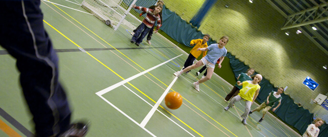 Kids football in the sports hall