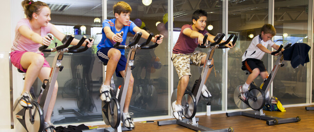 Junior indoor cycling class