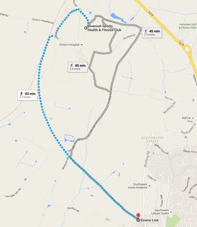 Running route from Bluecoat Sports to Downs Link