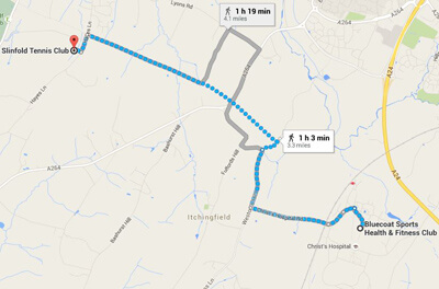 Running route from Bluecoat Sports to Slinfold