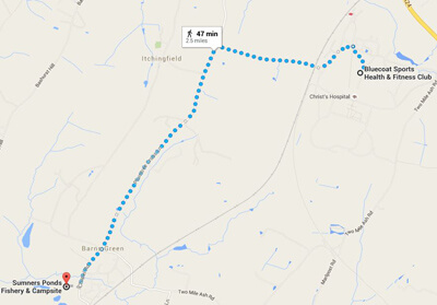 Running route from Bluecoat Sports to Barns Green