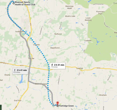 Running route from Bluecoat Sports to Partridge Green