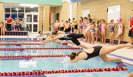 mixed age group swimming session