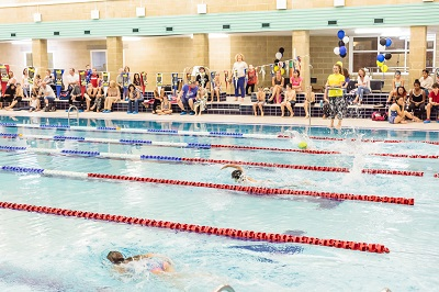 Swimming group performing front crawl